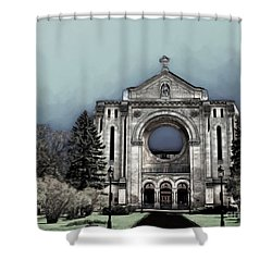 Shower Curtain featuring the digital art Painted Basilica 2 by Teresa Zieba
