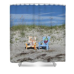 Painted Beach Chairs Shower Curtain