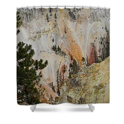 Shower Curtain featuring the photograph Painted Canyon At Lower Falls by Michele Myers