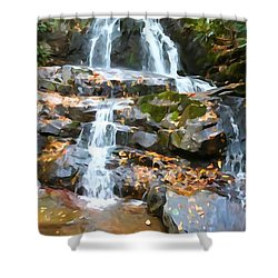 Painted Falls In The Smokies Shower Curtain by Dan Sproul