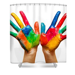 Painted Hands On White Shower Curtain by Michal Bednarek