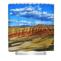 Painted Hills Blue Sky 3 Shower Curtain by Bob Christopher