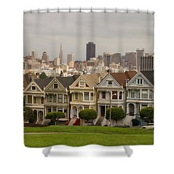 Painted Ladies Row Houses And San Francisco Skyline Shower Curtain
