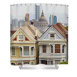 Painted Ladies Row Houses By Alamo Square Shower Curtain by Jit Lim