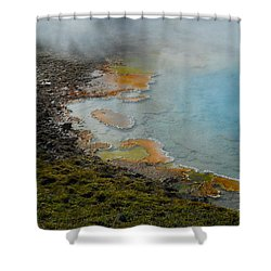 Shower Curtain featuring the photograph Painted Pool Of Yellowstone by Michele Myers