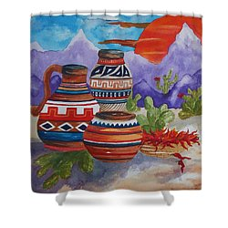 Painted Pots And Chili Peppers Shower Curtain by Ellen Levinson