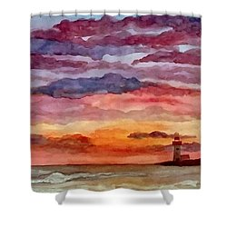 Painted Sky Over Ocean Shower Curtain