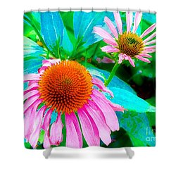 Shower Curtain featuring the photograph Painterly Coneflowers by Annie Zeno