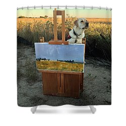 Painterly Lab Shower Curtain by Mary Ward