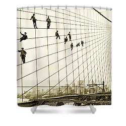 Painters On The Brooklyn Bridge 1914 Shower Curtain by Mountain Dreams