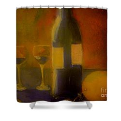 Painting And Wine Shower Curtain by Lisa Kaiser