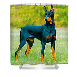 Painting Doberman Pincher Shower Curtain by Bob and Nadine Johnston