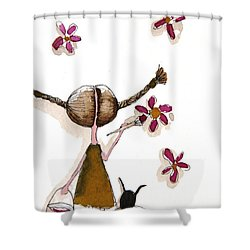 Painting Flowers Shower Curtain by Lucia Stewart