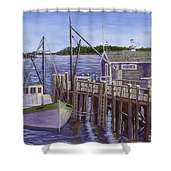 Fishing Boat Docked In Boothbay Harbor Maine Shower Curtain