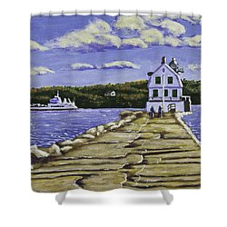 Rockland Breakwater Lighthouse In Maine Shower Curtain