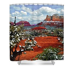 Painting Secret Mountain Wilderness Sedona Arizona Shower Curtain by Bob and Nadine Johnston