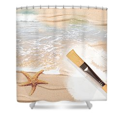 Painting The Beach Shower Curtain by Amanda Elwell