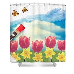 Painting Tulips Shower Curtain by Amanda Elwell