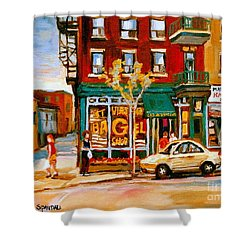 Paintings Of  Famous Montreal Places St. Viateur Bagel City Scene Shower Curtain by Carole Spandau