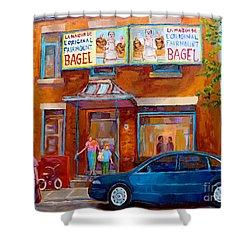 Paintings Of Montreal Fairmount Bagel Shop Shower Curtain by Carole Spandau