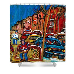 Paintings Of Montreal Hockey City Scenes Shower Curtain by Carole Spandau