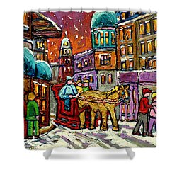 Paintings Of Old Quebec Magical Vieux Port Montreal City Scenes Caleche In Winter Carole Spandau Shower Curtain by Carole Spandau