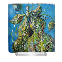 Shower Curtain featuring the painting Pair Of Pears by Eloise Schneider