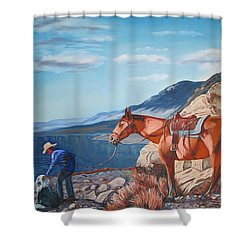 Paiute Boy At Walker Lake Shower Curtain by Joseph Juvenal