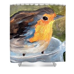 Shower Curtain featuring the painting Pajarito  by Reina Resto