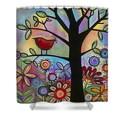 Shower Curtain featuring the painting Pajaro Loco by Carla Bank
