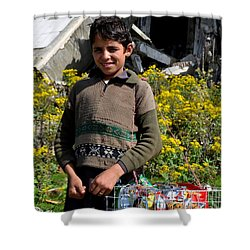 Shower Curtain featuring the photograph Pakistani Boy In Front Of Hotel Ruins In Swat Valley by Imran Ahmed