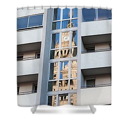 Palace Of Culture And Science Abstract Reflection Shower Curtain by Artur Bogacki