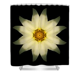 Pale Yellow Daffodil Flower Mandala Shower Curtain