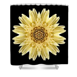 Shower Curtain featuring the photograph Pale Yellow Gerbera Daisy I Flower Mandala by David J Bookbinder