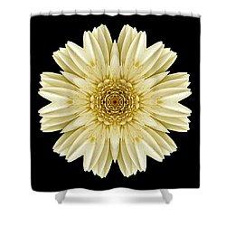 Shower Curtain featuring the photograph Pale Yellow Gerbera Daisy IIi Flower Mandala by David J Bookbinder