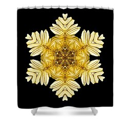Pale Yellow Gerbera Daisy Vii Flower Mandalaflower Mandala Shower Curtain