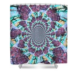 Palette Knife Flowers Kaleidoscope Mandela Shower Curtain by Genevieve Esson