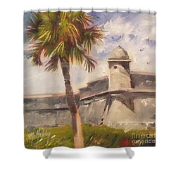 Palm At St. Augustine Castillo Fort Shower Curtain