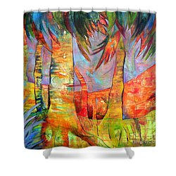 Palm Jungle Shower Curtain by Elizabeth Fontaine-Barr