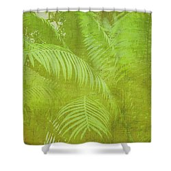 Palm Leaves Botanical Abstract Shower Curtain by Marianne Campolongo