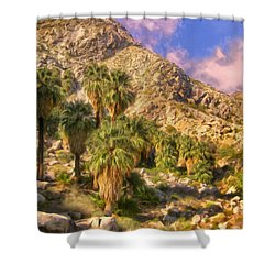 Palm Oasis In Late Afternoon Shower Curtain