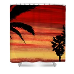 Palm Set Shower Curtain by Ryan Burton