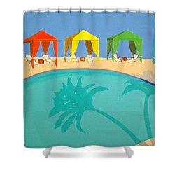 Palm Shadow Cabanas Shower Curtain