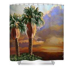 Shower Curtain featuring the painting Palm Tree Cabo Sunset by Tim Gilliland