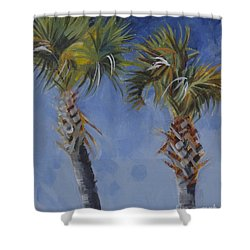 Palm Trees On Blue Shower Curtain by Mary Hubley