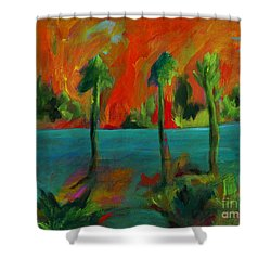 Palm Trio Sunset Shower Curtain by Elizabeth Fontaine-Barr