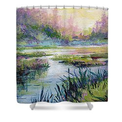 Palmer Hayflats Shower Curtain by Karen Mattson