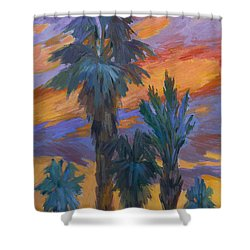 Palms And Sunset Shower Curtain by Diane McClary