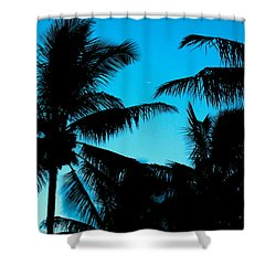 Palms At Dusk With Sliver Of Moon Shower Curtain by Lehua Pekelo-Stearns