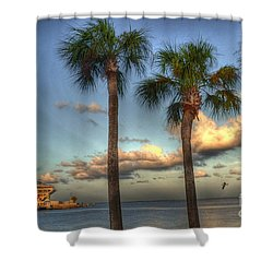 Palms At The Pier Shower Curtain by Timothy Lowry
